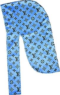 |Designer Durag Silky Satin Baby Blue LV Louis Du-rag - 360 Waves Durags [100% Satin]