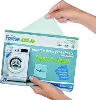 Homevative Laundry Detergent Sheets, Easy Dissolve, 30 Count, Fresh & Clean Scent, Full Size, Great for Travel, College, laundromat or at Home. Works with Any Washing Machine