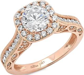Clara Pucci 1.90 CT Round Cut Simulated Diamond CZ Pave Halo Wedding Bridal Engagement Ring Band 14k Rose Gold