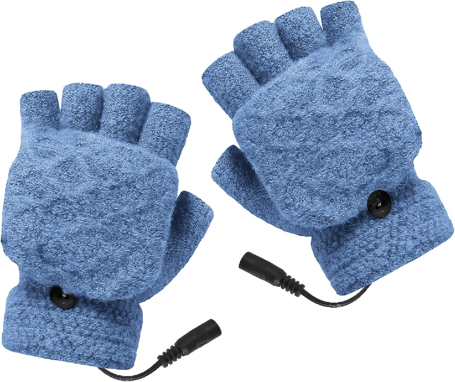 Unisex USB Heated Gloves Adjustable Temperature Winter Full & Half Fingers Warmer Laptop Gloves Mittens for Women Men Girls Boys