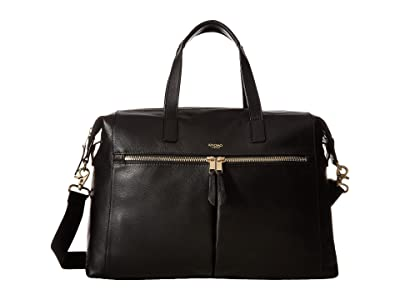 KNOMO London Mayfair Luxe Audley Slim Brief Tote (Black) Tote Handbags