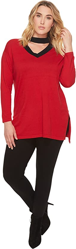Vince Camuto Specialty Size - Plus Size Long Sleeve Mock Choker V-Neck Sweater