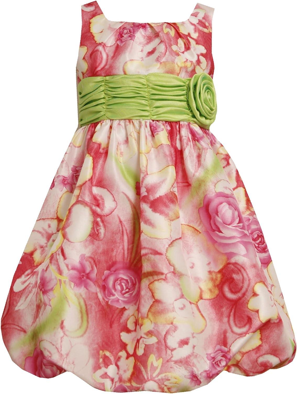 Bonnie Jean Girl 4-6X Watercolor Floral Print Rosette Waist Shantung Bubble Dress