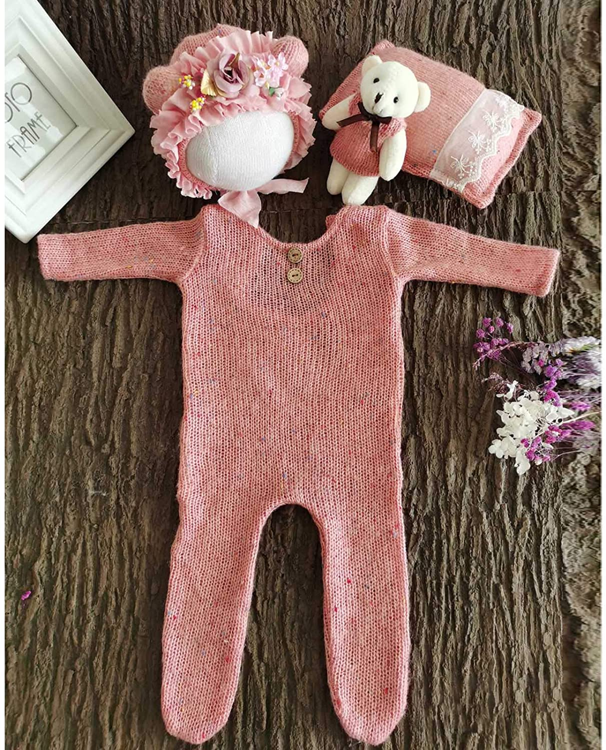 Angwang 4 Pcs//Set Baby Infants Hat Pillow Romper Jumpsuit Bear Doll Newborn Photography Props Photo Shooting Clothing Outfits 2#