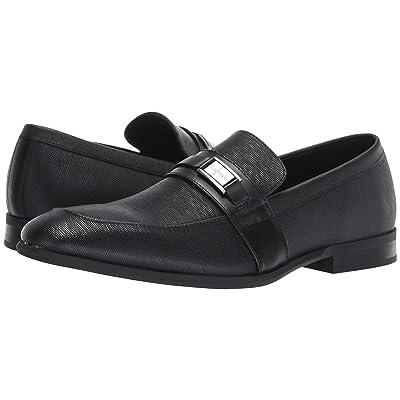 Calvin Klein Lonnie (Black Hatched Embossed Leather) Men