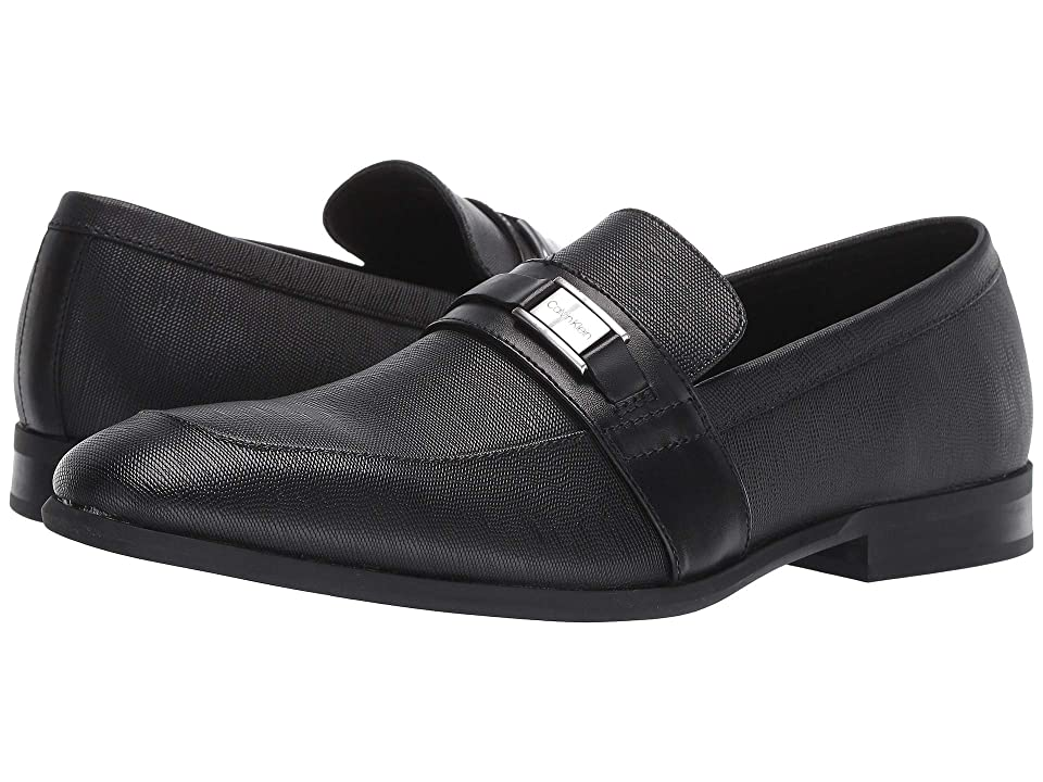 Calvin Klein Lonnie (Black Hatched Embossed Leather) Men