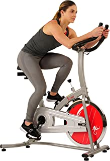 Sunny Health & Fitness Indoor Cycle Exercise Stationary Bike with LCD Monitor, 22 LB Chromed Flywheel, Felt Resistance, 220 LB Max Weight - SF-B1203 (Renewed)