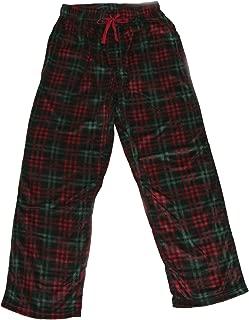 Mens Red & Green Plaid Christmas Microfleece Sleep Pants Pajama Bottoms