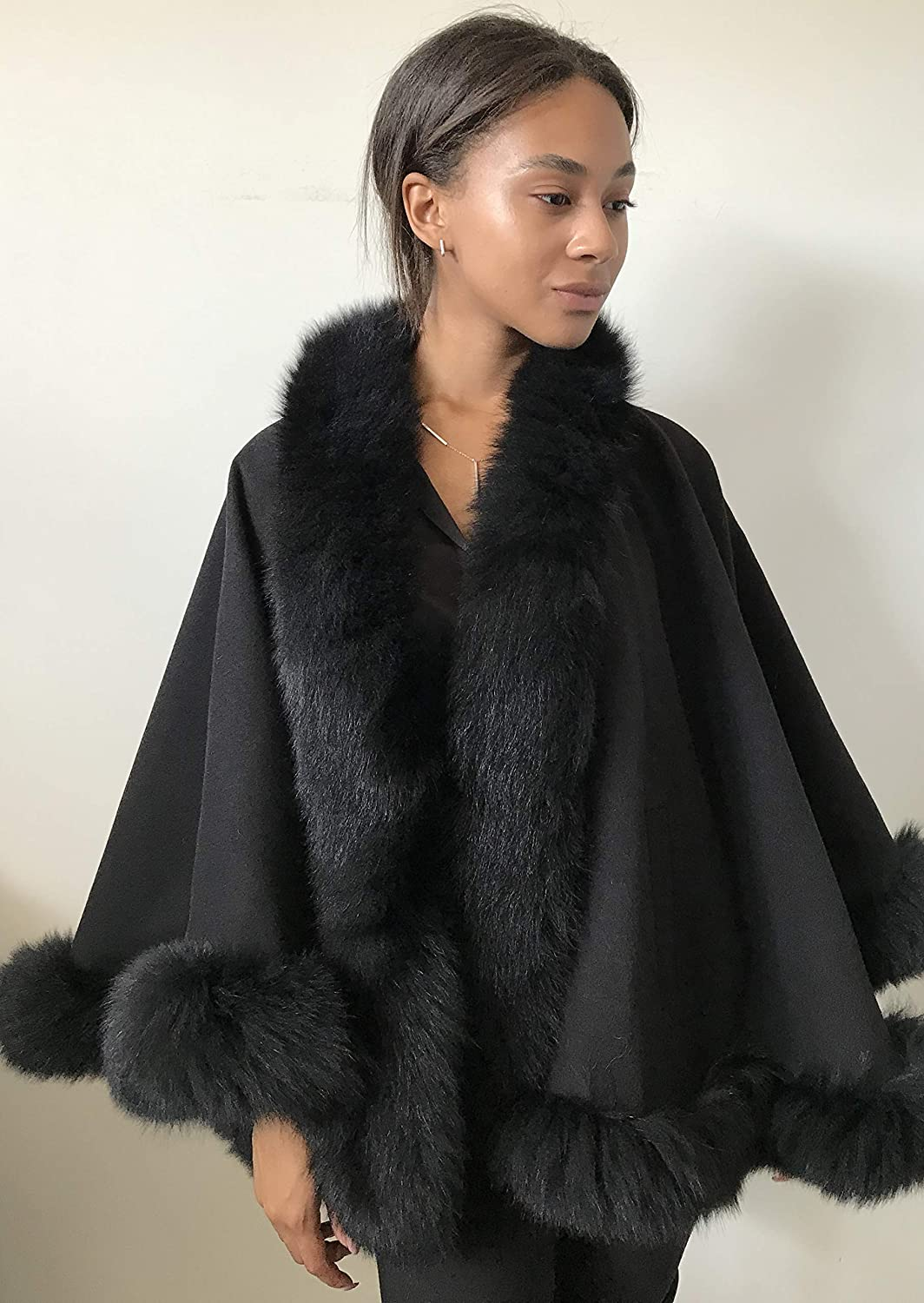 Poncho At the price of surprise Cape Coat cashmere OFFicial mail order fur trim fox