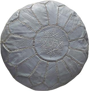 Pouf in pelle artigianale marocchina, Pouf in vera pelle, Ottomano in vera pelle, 100% Pouf in vera pelle