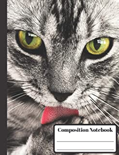 Composition Notebook: 110 Wide-Ruled Pages - Standard Composition Book Size - Fun Back to School Supplies - Cat Closeup