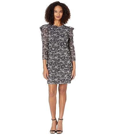 MICHAEL Michael Kors Puff Sleeve Sparkle Dress (Black/Silver) Women