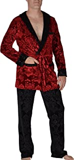 Revolver Fashion - Hugh HEFNER Velvet Signature Smoking Jacket - Red Velvet Lounge Robe for Home, Parties, and More