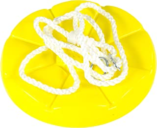 Squirrel Products Heavy Duty Plastic Tree Swing - Disc Rope Swing- Swing Set Additions & Replacements - Outdoor Play Equipment - Yellow
