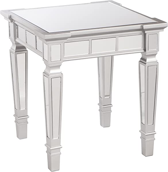 Glenview Mirror End Table Mirrored Surface W Silver Matte Trim Glam Style