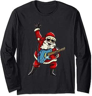 Santa Claus Rocker Long Sleeves Rockstar Christmas Shirt