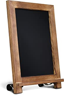 "HBCY Creations Rustic Torched Wood Tabletop Chalkboard with Legs/Vintage Wedding Table Sign/Small Kitchen Countertop Memo Board/Antique Wooden Frame (9.5"" x 14"" Inches) (Torched Brown)"