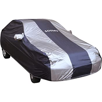 Amazon Brand - Solimo Hyundai Xcent UV Protection & Dustproof Car Cover (Dark Blue & Silver)