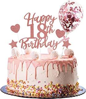 Larchio 18th Birthday Cake Topper, Rose Gold Happy 18th Birthday Cake Topper and Balloon Cake Topper for Girl Birthday Cak...