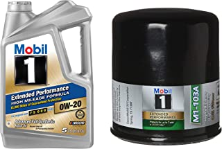 Mobil 1 Extended Performance High Mileage Formula Motor Oil 0W-20, 5-Quart, Single Bundle M1-103A Extended Performance Oil Filter