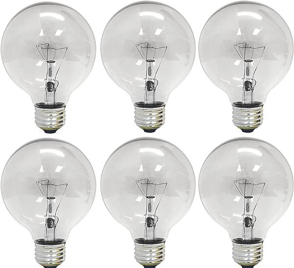 GE Lighting 12980 40 Watt 410 Lumen G25 Globe Light Bulbs Crystal Clear 6 Pack