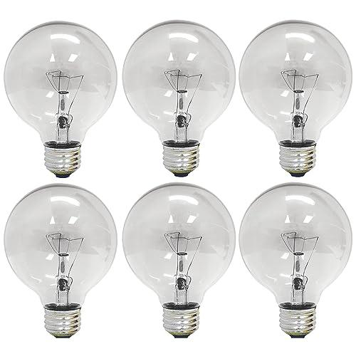 GE Lighting 12980 40-Watt 410-Lumen G25 Globe Light Bulbs, Crystal Clear