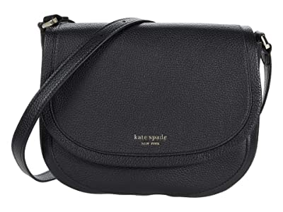 Kate Spade New York Roulette Large Saddle Bag (Black) Handbags