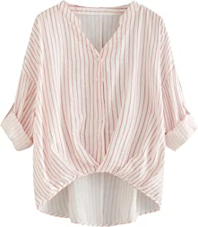 Romwe Women's Rolled Up Sleeve V Neck Pleated Hem Casual Tee Shirts Blouse Tops