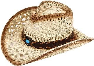 Verabella Men/Women's Classic Western Cowboy Straw Hat w/Leather Band