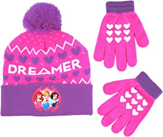 Disney Girls' Little Princess Character Hat and Gloves Cold Weather Set, pink/purple, Age 4-7
