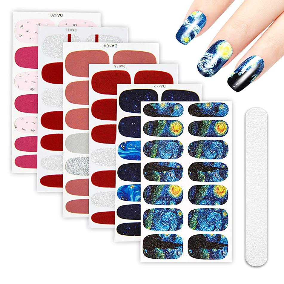6 Sheets Full Nail Wraps Art Polish Stickers Decal Strips Adhesive False Nail Design Manicure Set With 1Pc Nail Buffers Files?For Women Girls