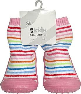 ES Kids Rubber Soled Socks - Pink Rainbow 12-18mths, Pink
