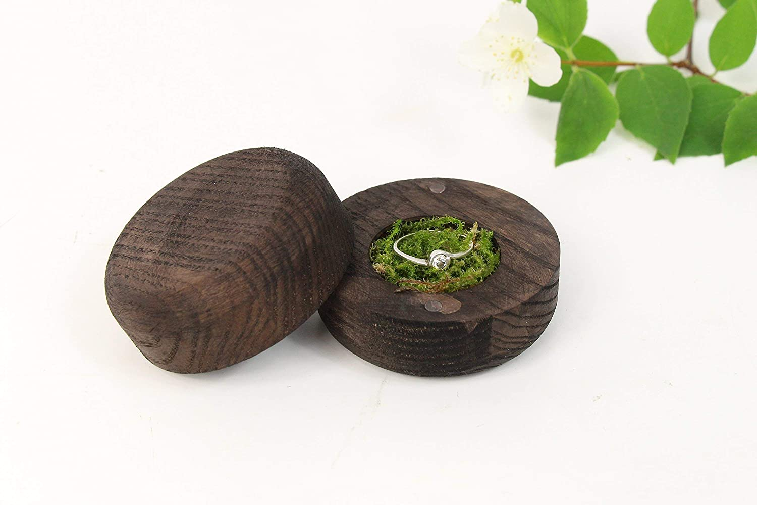 Black Handmade Wooden Engagement Ring x inches Box 2.3 depot 1.6 Year-end gift