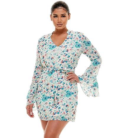 Bebe Tiered Ruffle Sleeve Print Dress