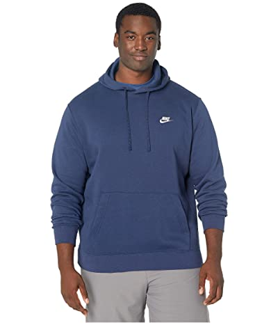 Nike Big Tall NSW Club Hoodie Pullover (Midnight Navy/Midnight Navy/White) Men