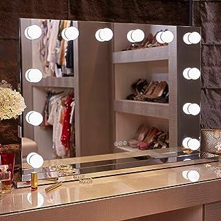 Glamour Mirrors™ Whitney Hollywood Miroir | Lumières à intensité variable | Changement de couleur jour comme nuit | 2 pris...