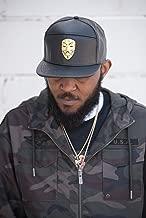 NYUK V for Vendetta metal gold mask leather adjustable cap, color-Black