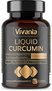 Liquid Curcumin - 60 cápsulas | Cúrcuma líquida con 185x Biodisponibilidad curcumina | 500 mg de NovaSOL por cápsula