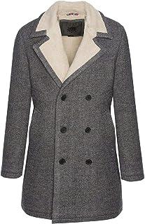 merc Mens London Tweed Pea Coat Wool Mix Jacket Fraser - Grey