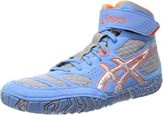 ASICS 男式 aggressor 2摔跤鞋 Dusty Blue/Silver/Red Orange 8 D(M) US