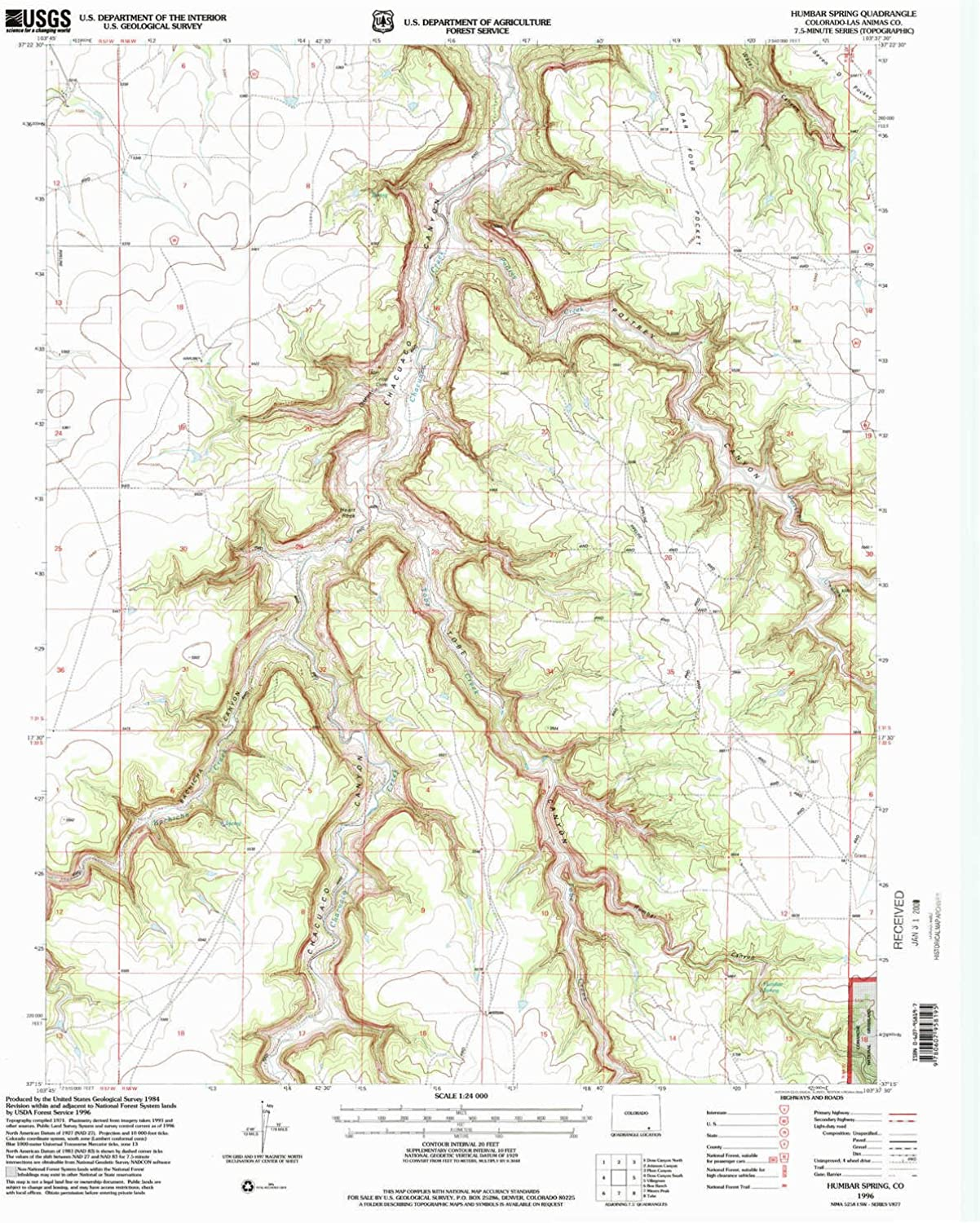 Humbar Spring CO topo map, 1 24000 Scale, 7.5 X 7.5 Minute, Historical, 1996, Updated 2000, 26.8 x 21.9 in