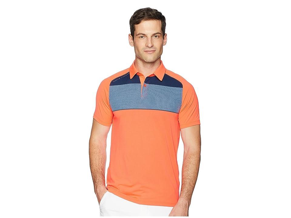 Under Armour Golf Threadborne Infinite Polo (Neon Coral/Bass Blue/Rhino Gray) Men