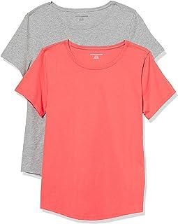 Amazon Essentials Paquete de 2 Camisetas de Manga Corta 100% algodón de Corte clásico Camiseta para Mujer