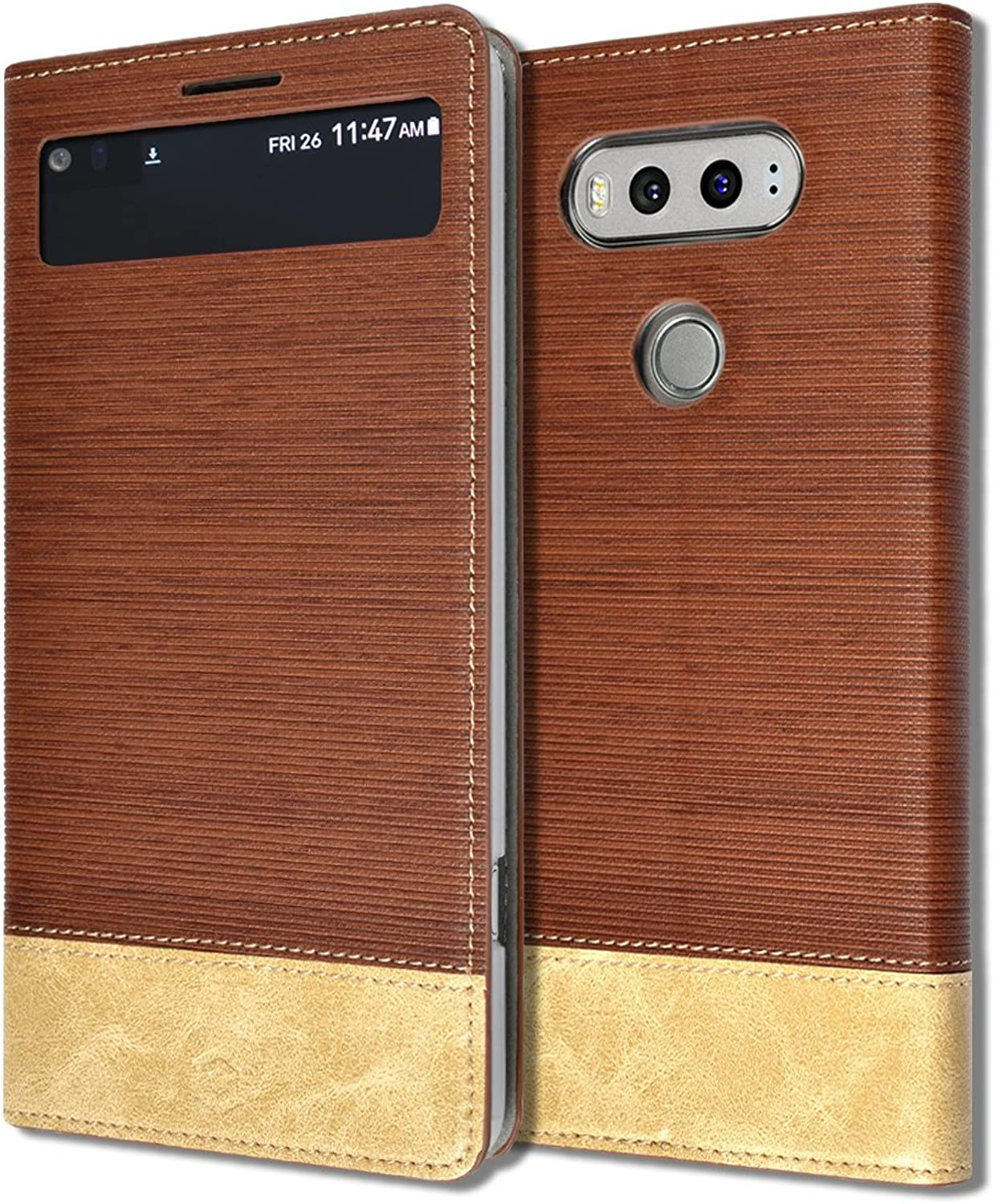LG V20 [ Orbit Flex Series ] [ Window View Flip Cover ] Diary Book Leather ID Credit Card Wallet Standing Soft Ultra Slim Fit Textured Grip Kickstand Case F800 LGV20 (Brown)