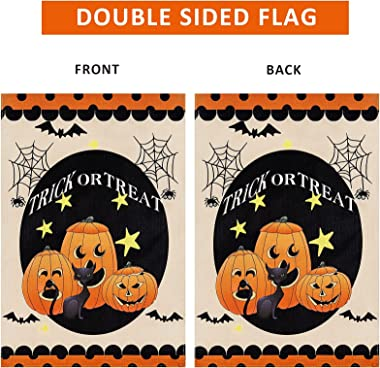 Halloween Garden Flag,Trick or Treat Pumpkins Halloween Flag Small Yard Flags Vertical Garden flags 12x18 Double Sided for Ou