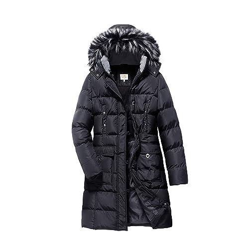 bb9d4702603 ELORA Women s Winter Puffer Mid Length Cargo Pocket Coat Fur Trim Removable  Hood