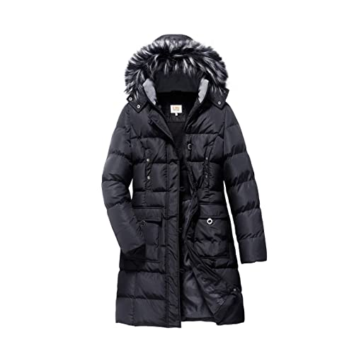 fbd1cc1951a ELORA Women s Winter Puffer Mid Length Cargo Pocket Coat Fur Trim Removable  Hood