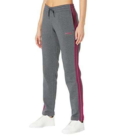 adidas Essential 3-Stripes Fleece Open Hem Pants (Dark Grey Heather/Power Berry) Women