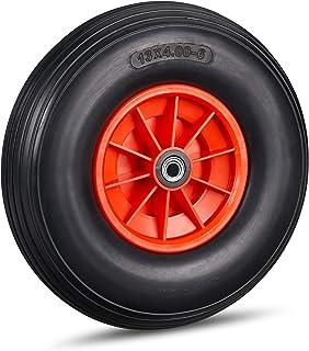 Relaxdays Kruiwagenwiel 4.00-6, massief rubberen wiel met kunststof velg, 3 adapters, reservewiel lekvrij, 100 kg, zwart-rood