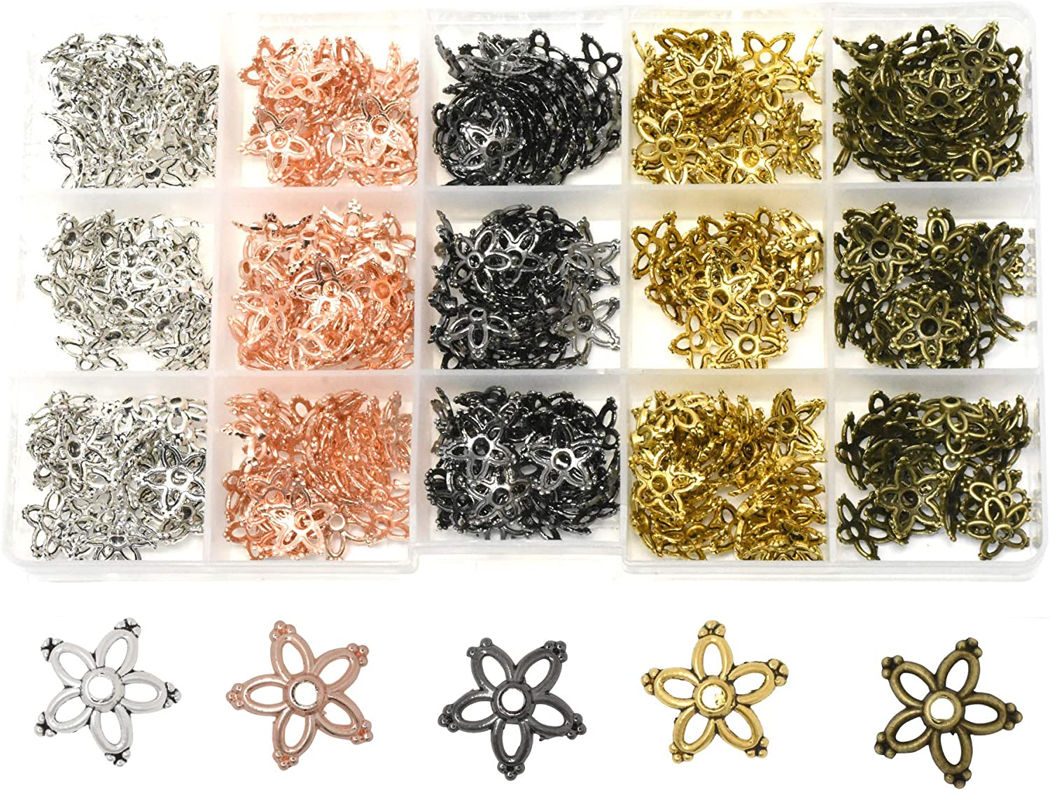 75 6mm Flower Bead Caps Antiqued Silver Plated Pewter